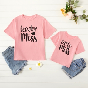 Letter Print Pink T-shirt for Mom and Me