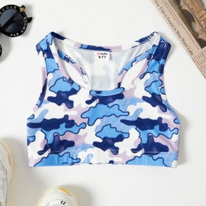 Camouflage Print Athleisure Racerback Tank Top for Toddlers/Kids