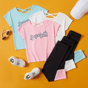 Letter Print Tee and Color Block Pants Athleisure Set for Toddlers/Kids