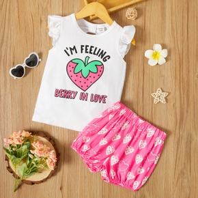 Toddler Girl Strawberry Letter Top And Shorts