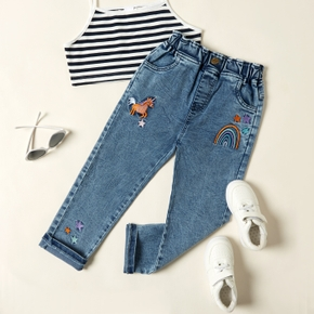 Pretty Kid Girl Unicorn & Rainbow Embroidered Jeans Pants