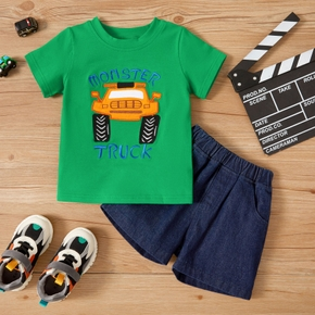 2-piece Toddler Boy Car Letter Tee and Shorts Set