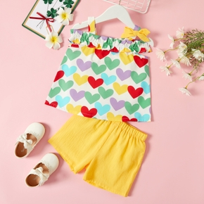 Toddler Girl Heart Print Bowknot Decor Tank Top and 100% Cotton Solid Shorts Set
