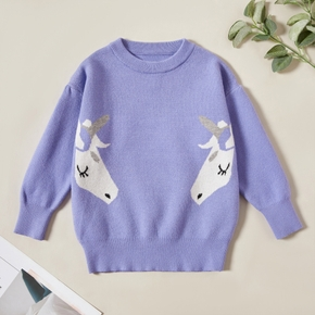 Stylish Unicorn Print Knitted Sweater
