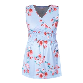 Maternity casual Floral Print V-neck Tank Tops
