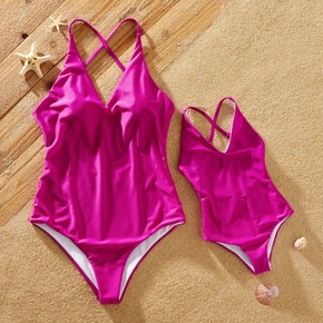 Rose Red Cross Back Design One-piece Swimsuits for Mommy and Me
