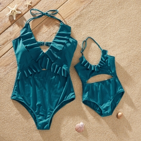 Solid One-piece Matching Swimsuits for Mom and Me