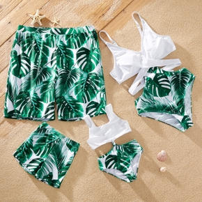 Plant Leaf Print Green and White Family Matching Swimsuits(One-piece Sling Swimsuits for Mom and Girl)