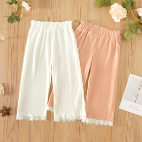 Toddler Girl Sweet Lace Cuff Elasticized Casual Pants