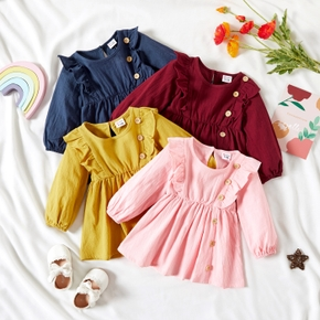 Baby Girl 100% Cotton Ruffled Button Design Long-sleeve Solid Dress