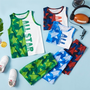 'ALL STAR' Letter and Stars Color Block Tank Top and Shorts Athleisure Set for Toddlers/Kids