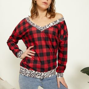 V-neck Plaid Leopard full print long sleeve casual Pullovers1