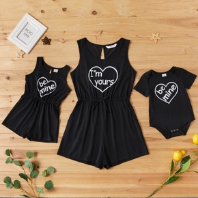 Solid Black Letter Print Matching Shorts Rompers