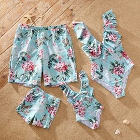 Floral Print Family Matching Swimsuits(One-piece Ruffle Decor Swimsuits for Mom and Girl;Swim Trunks for Dad and Boy)