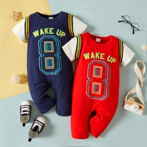 Baby Short-sleeve Color Contrast Sports Letter Jumpsuit