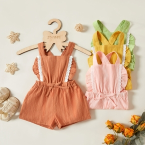 1pc Baby Girl Lace Solid Cotton Pants Overalls