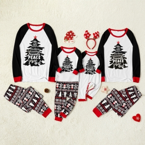 Family Matching Christmas Tree and Letter Print Pajamas Sets (Flame Resistant)