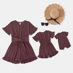 Mommy and Me Solid Bean Paste Color Ruffle Print Matching Rompers