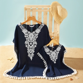 Tassel Ball and Lace Stitching Matching Navy Cover Up