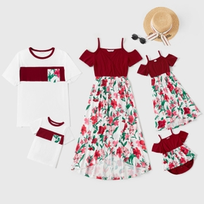 Floral Print Splice Family Matching Red Sets