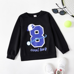 Trendy Kid Letter Number Hat Ball Print Casual Pullover Sweatshirt