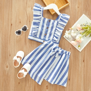 2-piece Toddler Girl Striped Ruffled Sleeveless Top and Bows Decor Skirt Set