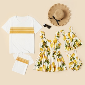 Yellow Series Family Matching Sets(Lemon Print Tank Ruffle Tops for Mom and Girl ; Stripe Splice T-shirts for Dad and Boy)