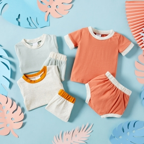 2pcs Baby Unisex Sweet Baby's Sets Short-sleeve Solid Cotton Baby Clothes
