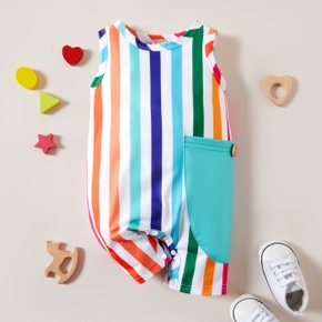 1pc Baby Boy & Girl Sleeveless Rainbow Stripe Print Pocket Jumpsuit