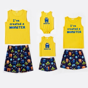 Letter and Cartoon Monster Pattern Family Matching Pajamas Sets(Flame Resistant)