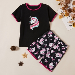 Kids Girl Unicorn Print Tee and Allover Shorts Set
