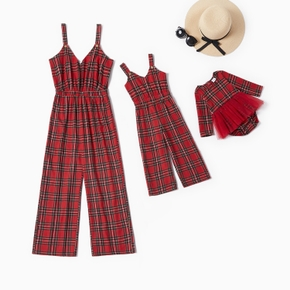 Mommy and Me Plaid Sling Jumpsuits