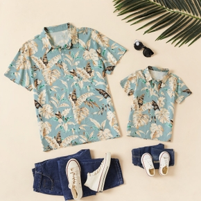 Leaf Floral Print Front Button Short Sleeve Shirts for Dad and Me