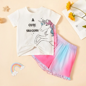 2-piece Toddler Girl Unicorn Letter Tee and Colorful Tie Dyed Shorts Set