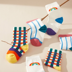 3-pack Baby / Toddler / Kid Rainbow Striped Middle Socks