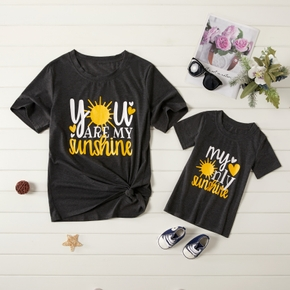 """YOU ARE MY SUNSHINE"" Letter Print Tops for Mom and Me"