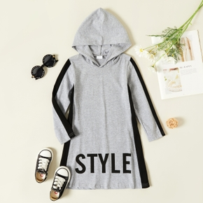Baby / Toddler Letter Striped Sporty Long-sleeve Hooded Dress