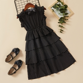 Fashionable Kid Girl Ruffle-sleeve Polka dots Layered Dress