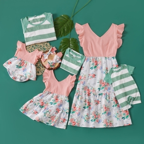 Mosaic Stripe and Floral Print Family Matching Sets