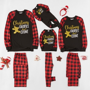 Family Matching Christmas Golden Gingerbread Man Plaid Pajamas Sets