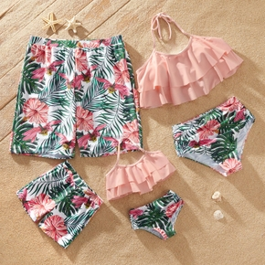Family Look Solid Ruffle Top and Floral Print Shorts Matching Swimsuits