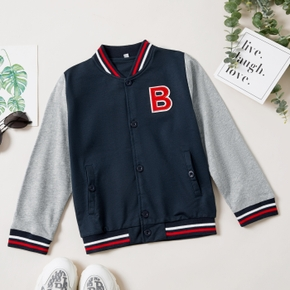 Kid Boy Letter Embroidery Striped Button Deign Jacket Coat with Pocket