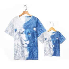 Animal Lion Print Short Sleeve T-shirts for Dad and Me