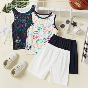 Ball Print Tank Top and Solid Shorts Athleisure Toddlers / Kids