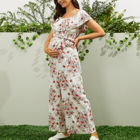 Maternity casual Floral Print Suspender pants