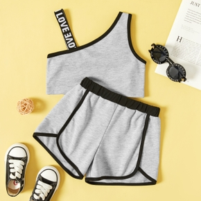 Toddler Girl Letter Print Tank Top and Shorts 2 pcs Casual Set