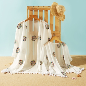 Floral Embroidery Print Tassel Beach Cover-up for Mommy and Me