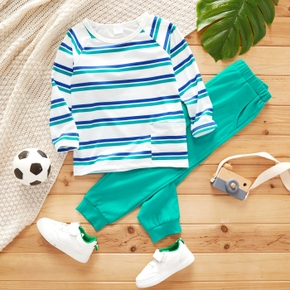 2-piece Toddler Boy Stripe Long-sleeve Top and Elasticized Solid Pants with Pocket Set