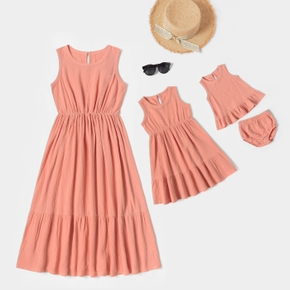 100% Cotton Solid Coral Tank Dresses for Mommy and Me