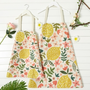 Mommy and Me Leaves/Lemon Print Linen Aprons